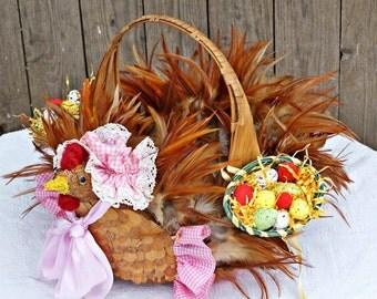 Easter Basket, Easter Decor, Easter Decoration, Egg Basket, Kids Easter Wicker Basket, Easter Kitchen Decor, Easter Egg Hunt, Easter Chicken