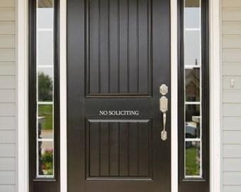 NO SOLICITING Front Door Vinyl Decal - greeting lettering elegant banner 308