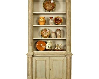 French Painted Bureau Bookcase with Bottom Cupboard [3283]