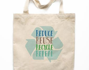 Earth Day Tote Bag, Reduce Reuse Recycle Canvas Bag, Canvas Tote Bag, Printed Tote Bag, Market Bag, Shopping Bag, Reusable Grocery Bag 0141