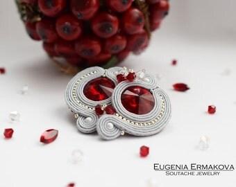 Soutache earrings Grey red soutache earrings Soutache jewelry Stud earrings soutache Small soutache earrings grey ruby red Small earrings
