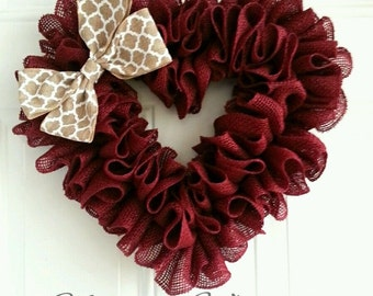 Valentines day wreath burlap wreath heart wreath burgundy burlap wreath red wreath spring wreath love wreath summer wreath shabby chic heart
