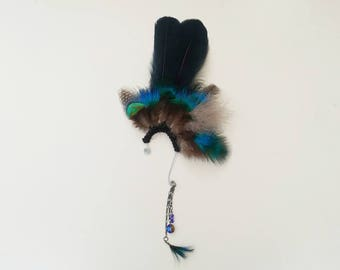Feather Ear Cuff - Festival Feather Ear Cuff - Feather Fascinator - Drop Earring