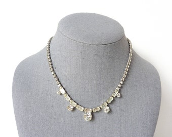 Vintage Bridal Necklace | Rhinestone Baguette Design in Clear Crystal  | 1940s Jewelry