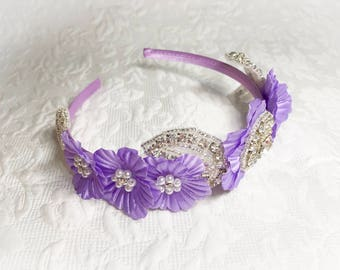 Headband, flower girl headpiece,lavander headband, crystal headband,flower headband,girls accessories