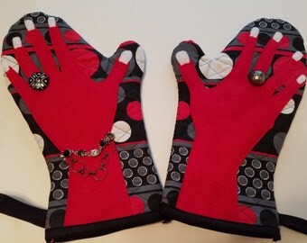 Pot Holder, Hot Pad, Kitchen Mitt, Kitchen Glove, Handmade Kitchen Mitt, Red and Black Oven Mitt, Decorated Kitchen Mitt, Glamour Oven Mitt
