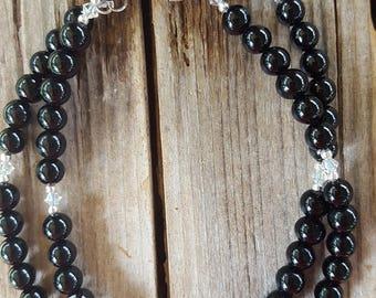 5mm Round Ball Black Onyx Gemstone and Sterling Silver Necklace, Onyx and Sterling Silver Necklace, Onyx Beaded Necklace, Onyx Necklace