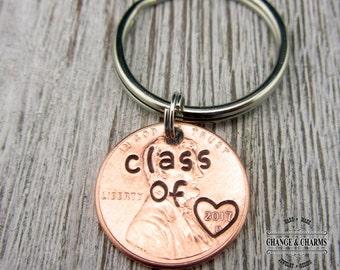 Class of 2017 Graduation Keychain, Custom Keychain, Graduation Gift, Penny Keychain, Personalized Gift, Class of 2017, Graduation Keychain