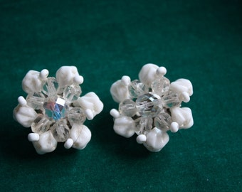 White and Crystal Cluster Clip On Earring 1960s