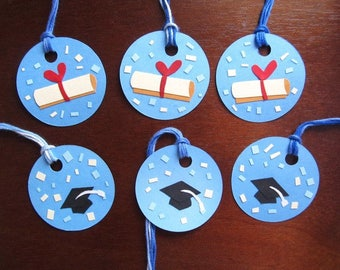 """Graduation Gift tags [Packet of 6], Graduation Party Favors, Graduation Hat & Diploma Gift Tags, Paper Art Gift Tags, """"Class of"""" Graduation"""