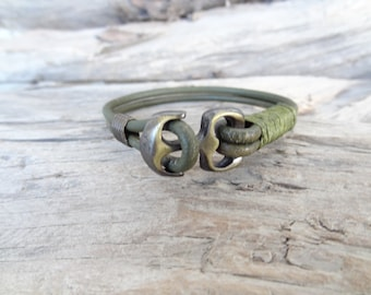 EXPRESS SHIPPING,Men Leather Bracelet,Deep Khaki Leather Bracelet,Mens Jewelry,Antique Brass Clasp,Anchor Bracelet,Gift for Him,Father's Day