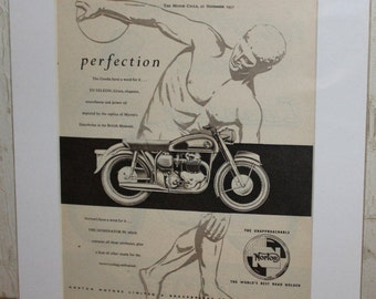 "1957 Norton Dominator 99 Vintage 11"" x 14"" Matted Motorcycle Ad Art #ncc07m"