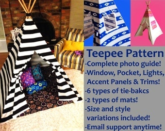 Marvellous Magical Teepee Pattern (Mat, Pillow, Windows, Pockets, Lights & More!)Kids Tee Pee/Tipi/Tent/Playhouse/Nursery-ALL Fabrics Types!