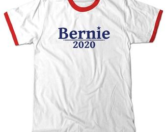 Bernie 2020 Ringer T-Shirt. Bernie Sanders for president 2020 Red and White Ringer Tee Shirt