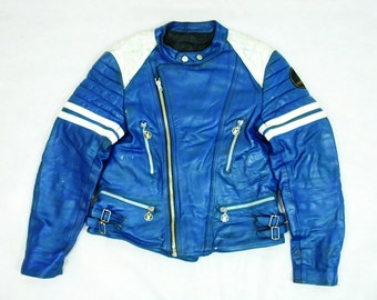 """Very Rare French Moto Cuir Paris Blue & White Leather Motorcycle Cafe Racer Racing Jacket 40"""""""