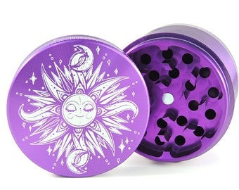 Herb Grinder - Sun and Moon - custom herb grinder