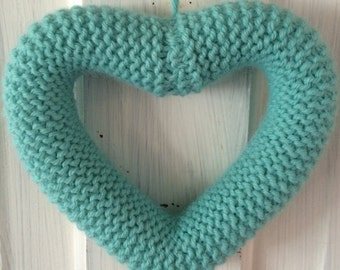 Knitted Heart Turquoise