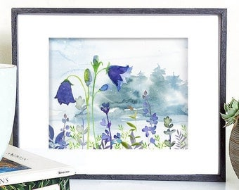 flower digital download, bluebell flower printable, flower landscape wall decor, flower illustration, blue flower digital, flower art print