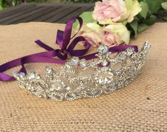 Wedding tiara, Austrian crystal, white gold plated