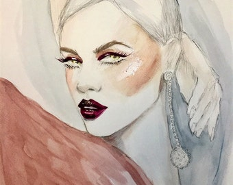 Glam Inspired Original Watercolor Fashion Illustration Painting