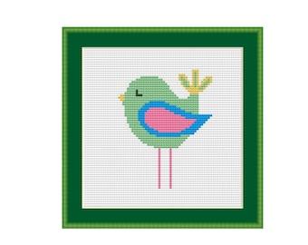 Little Green Birdie Cross Stitch Pattern, Child's Room or Nursery, Instant Download Cross Stitch Chart    (P-362)