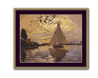 2 for 1 SALE! - Claude Monet's Sailboat Counted Cross Stitch Pattern, PDF Instant Digital Download Nautical Cross Stitch Chart (P-413)