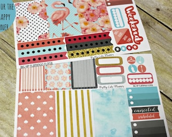 BIG Happy Planner Planner Stickers - Weekly Planner Sticker Set - Happy Planner - Day Designer - Flamingo Floral  - Spring Stickers