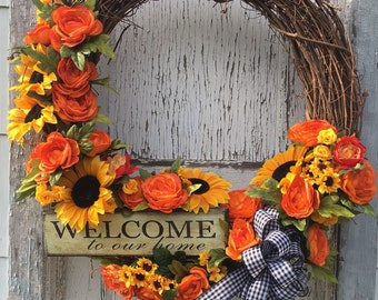 Orange Ranunculus and Sunflower Welcome Wreath