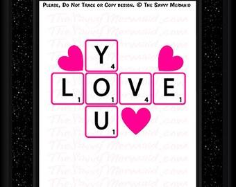 Valentine SVG- Valentine's Day SVG file- Scrabble Svg Cut file- Love Svg- HTV Vinyl Valentines Shirt Svg- Cricut Valentine- Silhouette Dxf