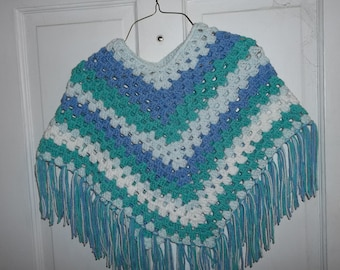 Hand made Child age 4 to 5 yrs. girl crochet poncho