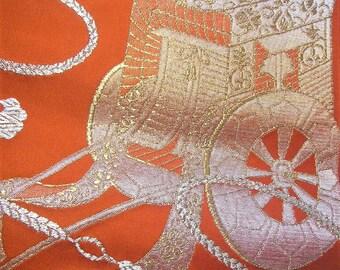 334: Japanese vintage kimono obi sash  synthetic fiber gorgeous orange gold silver ox-cart embroidery