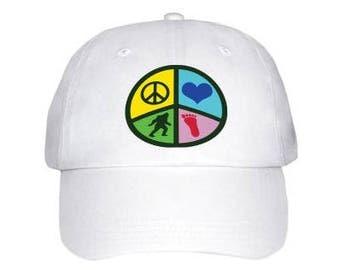 Peace,Love and Bigfoot Cap
