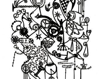 """8.5""""x11"""" print of """"Brainstorming"""" papercut"""