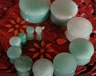 Pair of Jade Stone Plugs / Gauges For Stretched Ears (25mm, 22mm, 19mm, 16mm, 14mm, 12mm, 10mm, 8mm, 6mm, 5mm, 4mm, 3mm)