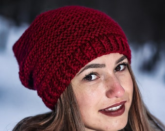 Marsala winter hat Red winter hat Handmade red hat Hat for women Knit red hat Slouchy beanie Winter beanie Winter red hat Wool beanie hat