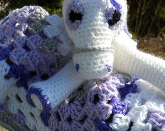 Child's Security Baby Blanket HORSE Lovie Handmade Crochet Custom Colors