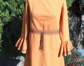 1960s Crimplene dress with amazing sleeves brunt Orange size 14