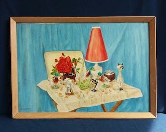 Original 1960s Painting on board by B J Burrows - Kitsch collection of sixties ornaments on a tea tray - Unique