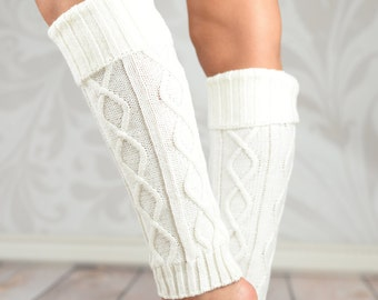 White Fold Over Cable Knit Leg Warmers