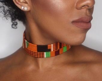 African Printed Choker - Choker - African Printed Necklace - African Necklace - African Fabric - African Jewlery - African Print