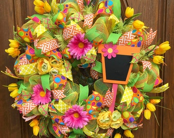 Deco Mesh Spring Wreath / Whimsical Polka Dot Spring Wreath / Hot Pink and Orange Summer Wreath / Deco Mesh Floral Wreath
