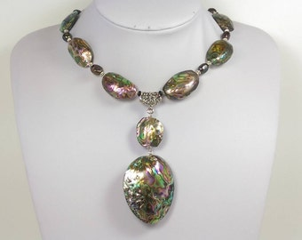 Whole Abalone Shell Black Pears short statement necklace. Large abalone Shell pendant necklace