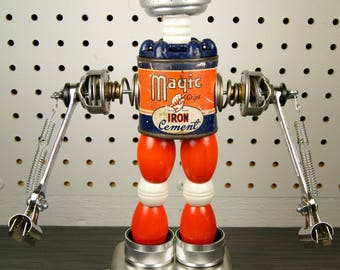 """Steampunk Upcycled Americana Found Object Robot Sculpture / """"Boris"""""""