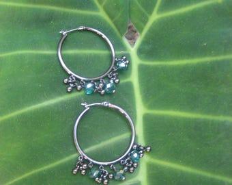 Turquoise/Charcoal Beaded Hoop Earrings