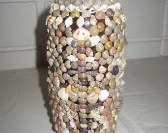 Shells on an Antique 1930s Brown Glass Bottle