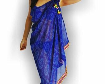 Blue Bandini Print sarong with embroidery, boho women's Beach Coverup, handmade,resort wear, swimsuit coverups, resort, sarongs, pareo, wrap