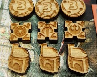 Wood Laser Etched Token Set - Star Wars Destiny