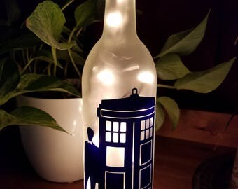 Doctor Who Wine Bottle Accent Lamp-GIfts for Her-Gifts for Him- Easter - Graduation - Timey Wimey-Wibbly Wobbly- Tardis