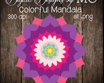 Mandala Clipart - Lotus Clip Art - Clipart - Digital Clip Art - FREE Small Commercial Use! - Digital Download - Instant Download
