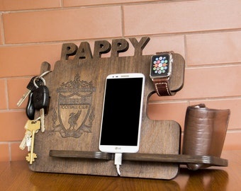Personalized Liverpool F.C. docking station - iPhone charging stand, gift idea - Mens charging dock